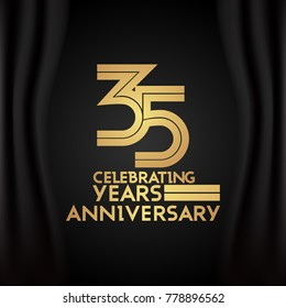 35 Years Anniversary Logotype with  Golden Multi Linear Number Isolated on Black Background