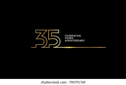 35 Years Anniversary logotype with golden colored font numbers made of one connected line, isolated on black background for company celebration event, birthday