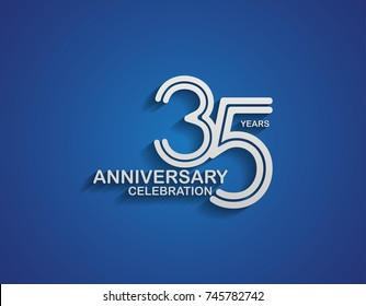 35 years anniversary logotype linked line number with silver color for celebration event isolated on blue background
