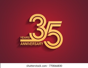 35 years anniversary logotype with linked number golden color isolated on red background for celebration event
