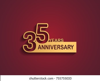 35 years anniversary logotype with outline number golden color on red background