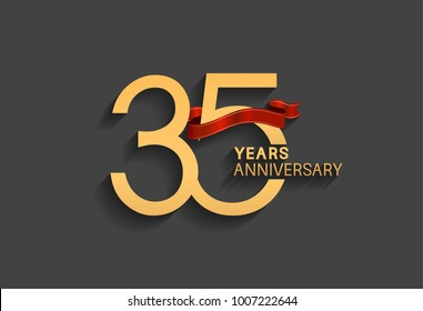 35 years anniversary logotype with red ribbon and golden color for celebration event