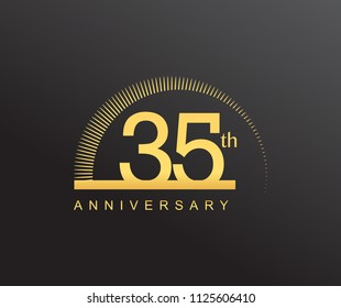 35 years anniversary logotype with single line golden color and golden ring for anniversary celebration
