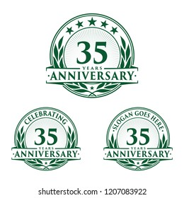 35 years anniversary set. 35th celebration logo collection. Vector and illustration.