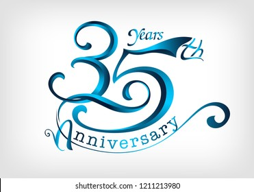 35 years anniversary Template logo
