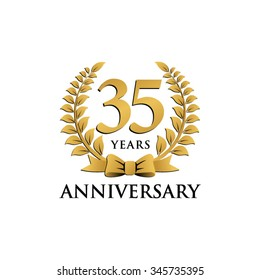 35 years anniversary wreath ribbon logo
