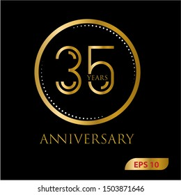 35 years gold anniversary celebration simple logo, isolated on dark background