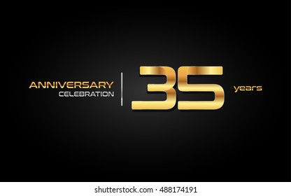 35 years gold anniversary celebration logo, isolated on dark background