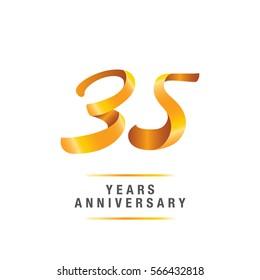 35 years golden anniversary celebration logo , isolated on white background