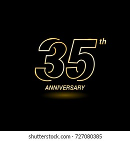35 years golden line anniversary celebration logo design