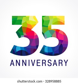 35 years old celebrating colored logo. Anniversary numbers 35 th. Shining facet congrats logotype. Greetings celebrates with 3D volume. Stained glass mosaic background, % off template.