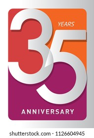 35 years old celebrating modern logo. Colored happy anniversary template numbers. vector design for celebration, invitation card, and greeting card
