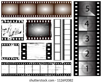 35mm and 135 still camera and cinema film strip vectors