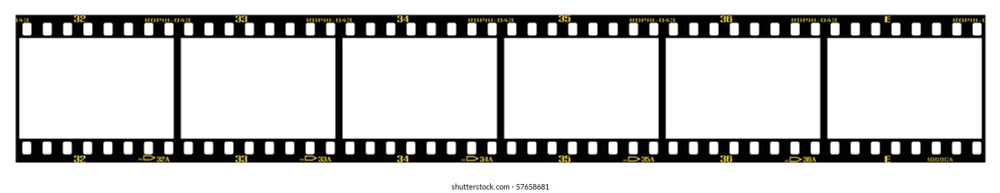 35mm slide/positive frames in filmstrip, with details and accurate dimension.