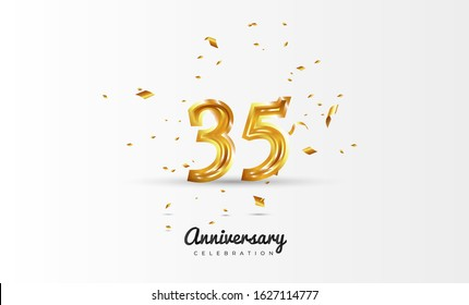 35th Anniversary celebration Vector background by using two colors in the design between gold and white, Golden number 35 with sparkling confetti Realistic gold 3d sign. Birthday or wedding party