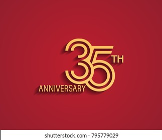 35th anniversary design logotype with line style golden color for celebration event isolated on red background