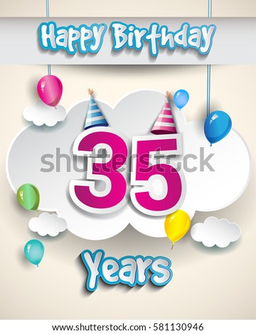 35th Birthday Celebration Design With Clouds And Balloons Greeting Card Invitation For