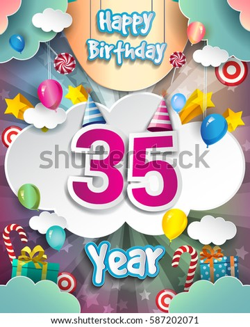 35th Birthday Celebration Greeting Card Design With Clouds And Balloons Vector Elements For The