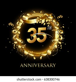 35th gold anniversary celebration With confetti, ring, and abstract elements, isolated on dark background