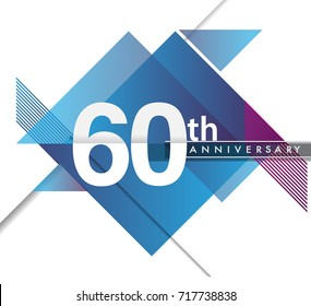 35th years anniversary logo with geometric, vector design birthday celebration isolated on white background.