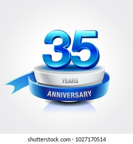35th years blue anniversary logo celebration with ring and ribbon.