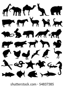 36 animal black silhouettes