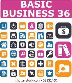 36 basic business buttons. vector