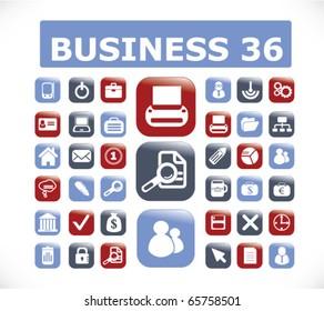 36 business buttons. vector