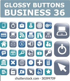 36 business buttons.vector.