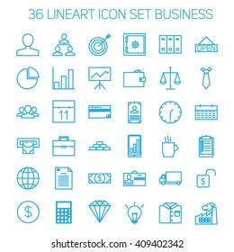 36 Business Icon Set Line Art
