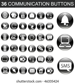 36 Communication Black Glossy Buttons Set