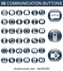 36 Communication Glossy Buttons Set