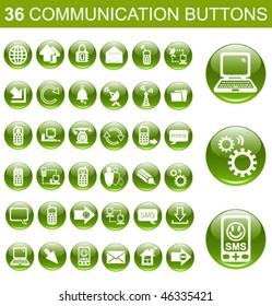 36 Communication Green Glossy Buttons Set