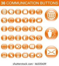 36 Communication Orange Glossy Buttons Set