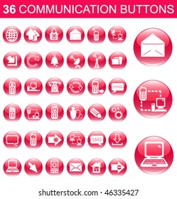 36 Communication Pink Glossy Buttons Set