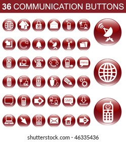 36 Communication Red Glossy Buttons Set