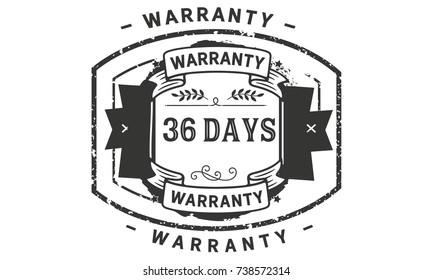 36 days warranty icon vintage rubber stamp guarantee