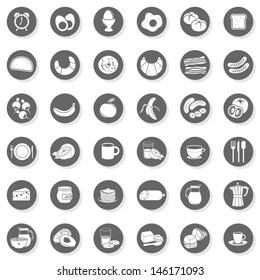 36 eggs bread fruit vegetables juice milk cereal meat sausages cheese cutlery coffee monochrome isolated gray flat icon set with light shadow on white background