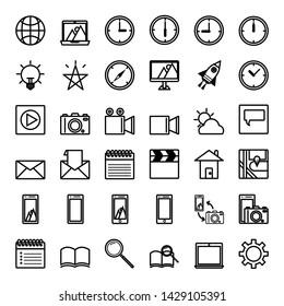 36 flat icon technology art in artboard