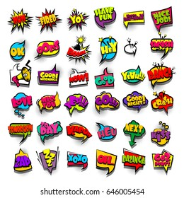 36 Funny set comic book cartoon text phrase wow, oops, fired, kapow, ok. Colored dialog box cloud. Abstract creative vector colorful speech bubble. Balloon halftone dot background pop art style.
