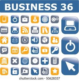 36 glossy business buttons. Vector