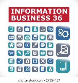 36 icons information business - vector set