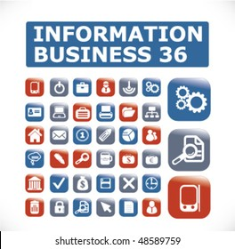 36 information business buttons. vector