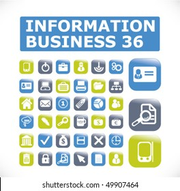 36 information business glossy buttons. vector