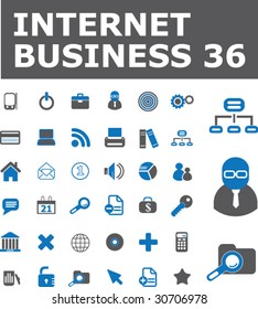 36 internet business signs. vector. blue series.