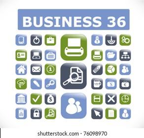 36 modern business glossy 3d buttons, vector