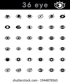 36 modern eye icons set. Creative eye icon in modern line style for your web mobile app logo design. Pictogram isolated on a white background. Editable linear set, pixel perfect vector graphics.