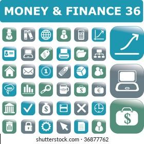 36 money & finance buttons. vector