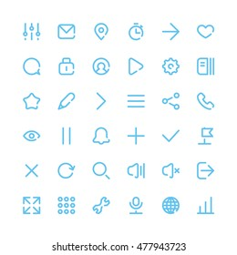 36 Most Useful Web and Mobile Icons for Interfaces. Vector Design Elements Set. Thin Line style.