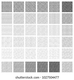 36 Seamless pattern of ink hand drawn linear hatching and crosshatching textures. Texture has different shades and angles: vertical, 30, 45 and 60 degrees, horizontal.